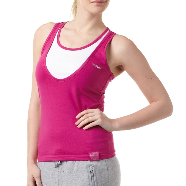 Reebok Women Tee, Color: rich violet, white, Material: 95% cotton, 5% elastane