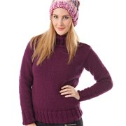 Women Knitted Winter Sweater With Collar Wine