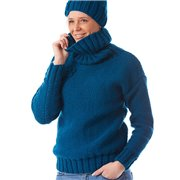 Women winter knitted sweater with a high collar blue