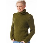 Women knitted winter sweater with a high collar green