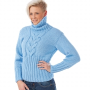 Women Turtleneck Sweater ELISE Cable blue winter knitted