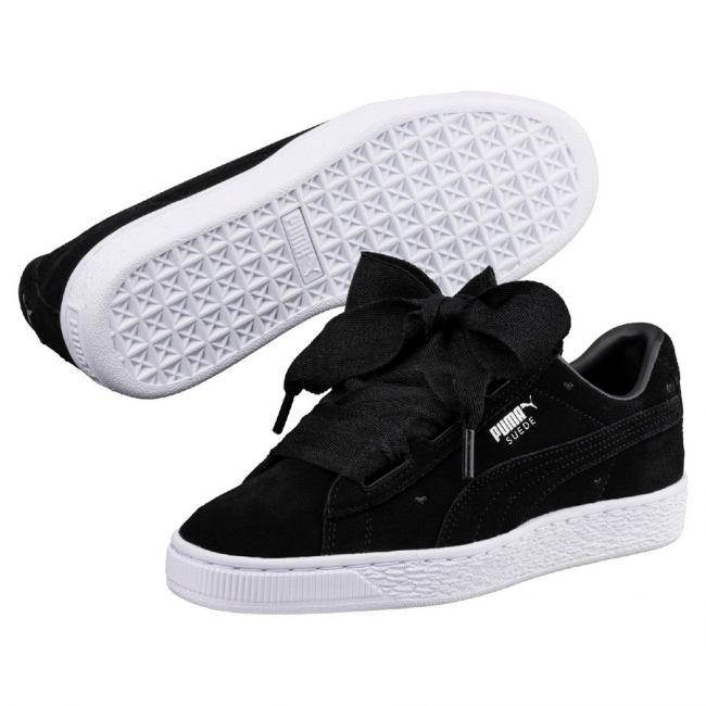 6e80e77d67 PUMA Suede Heart Valentine women shoes, Color: Black, Material: Upper:  Leather