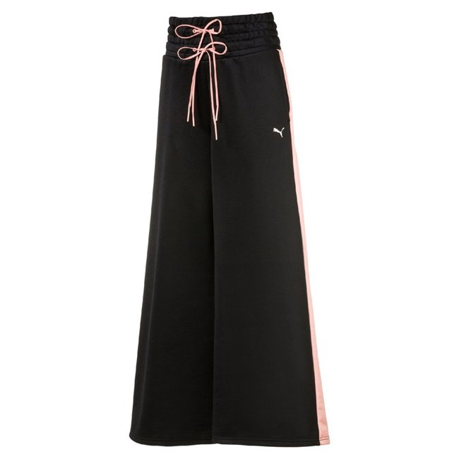 PUMA En Pointe Wide Leg Pant Women pants, Color: black, Material: 51% polyester, 49% cotton