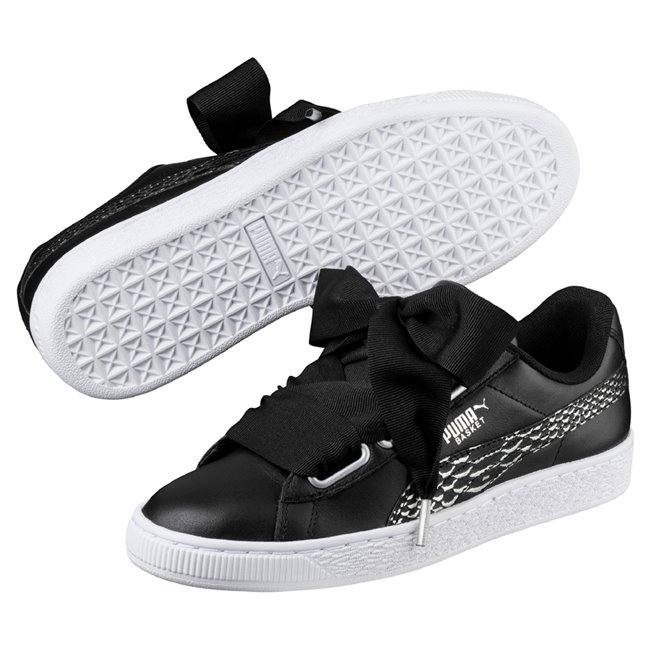 PUMA Basket Heart Oceanaire wns women shoes, Color: Black Material: Upper: leather Midsole: rubber, Sole: rubber