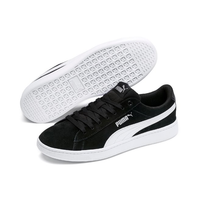 PUMA Vikky v2 women shoes, Colour: black, white, silver, Material: Upper: leather, synthetic leather, Midsole: rubber, Sole: rubber