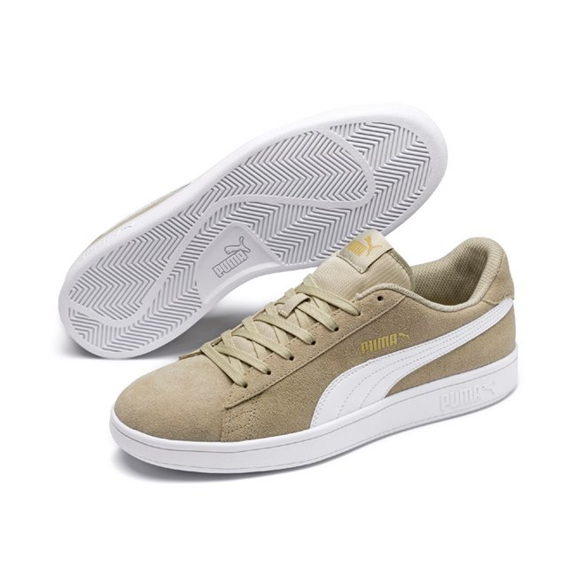 PUMA Smash v2 shoes, Color: beige, Material: leather