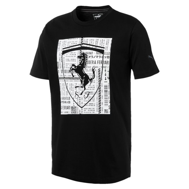 Ferrari Big Shield Tee, Color: black, Material: 100% cotton