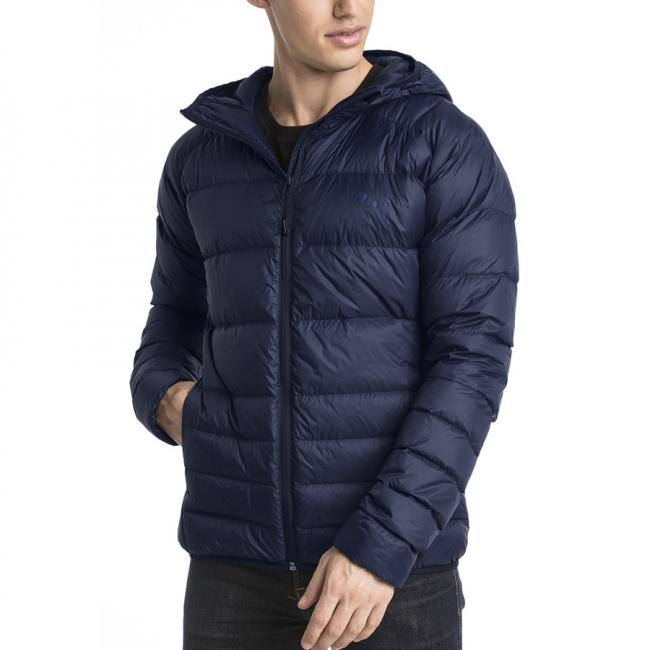 PUMA PWRWarm packLITE men winter jacket, Color: dark blue, Material: nylon, polyester, hood, 2 side pockets, PUMA logo on left front