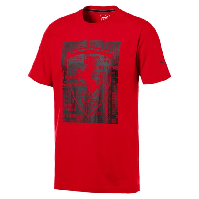 Ferrari Big Shield Tee, Color: Ferrari red, Material: 100% cotton