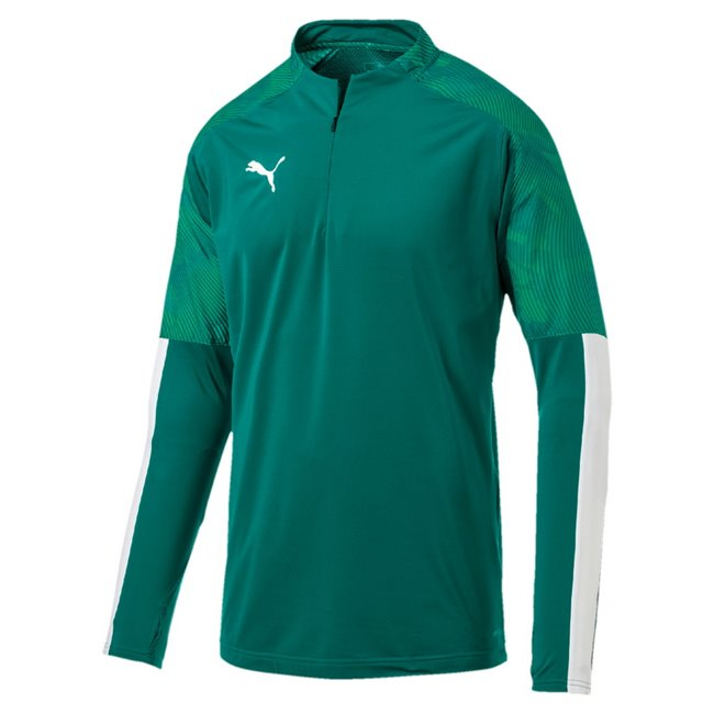 PUMA CUP Training 1 4 Zip Top sweatshirt, Color: Green, Material: 83% polyester, 17% elastane