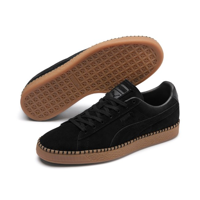 PUMA Suede Classic Blanket Stitch shoes, Color: black, Material: leather