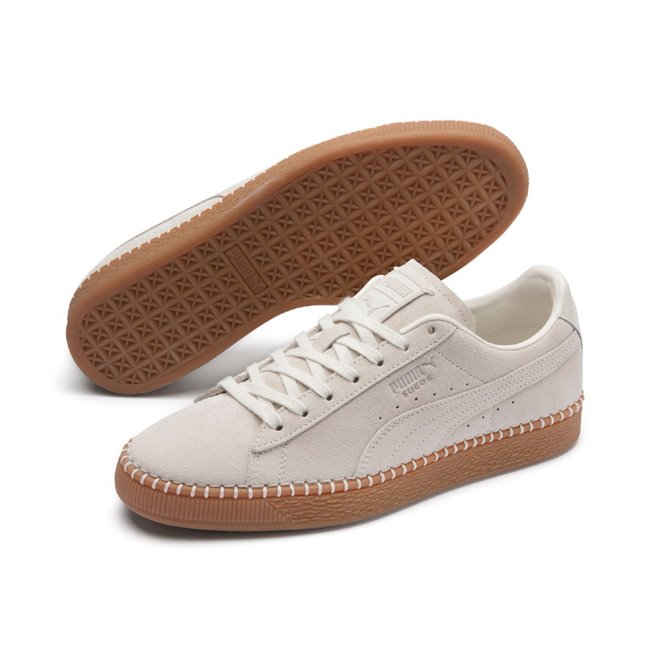 PUMA Suede Classic Blanket Stitch shoes, Color: white, Material: leather