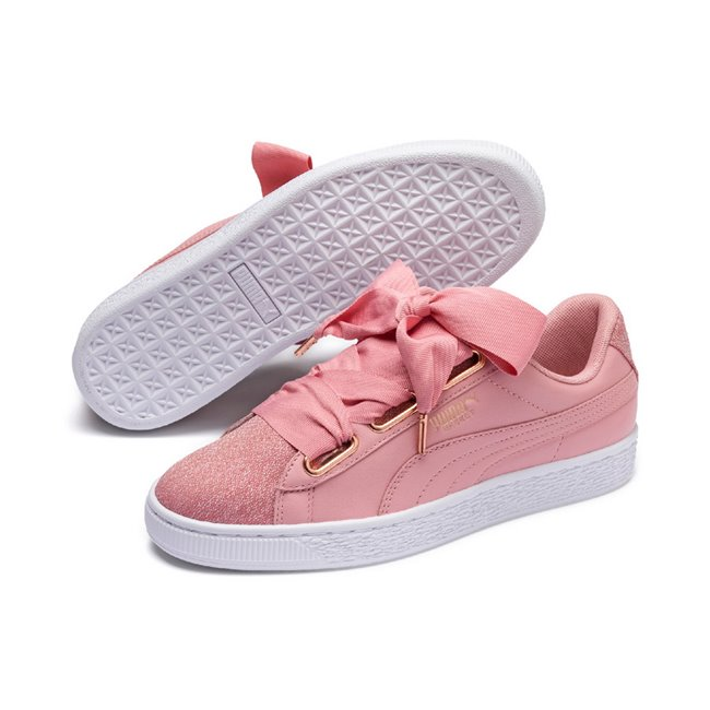 PUMA Basket Heart Woven Rose Wns women shoes, Color: pink, Material: leather