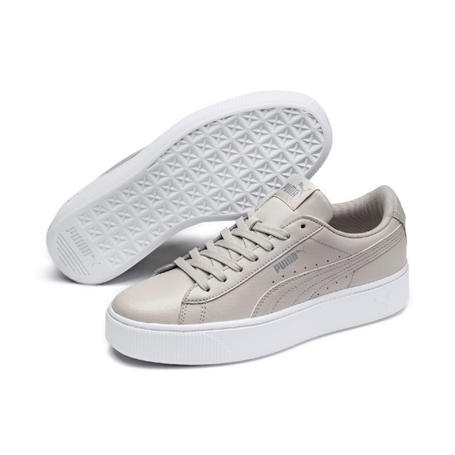 d6aed96ed PUMA Vikky Stacked L women shoes, Color: gray-silver, Material: leather