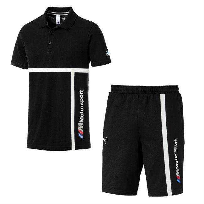 BMW T-shirt and shorts, T-Shirt: Color: Black, Material: 100% cotton, Shorts: Color: Black, Material: cotton, polyester