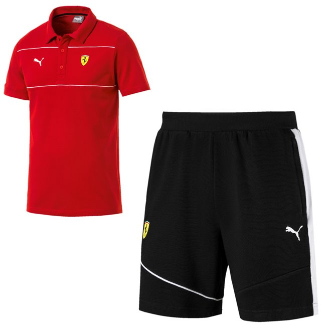 Ferrari T-shirt and shorts, T-Shirt: Color: Red, Material: 100% cotton, Shorts: Color: Black, Material: cotton, polyester