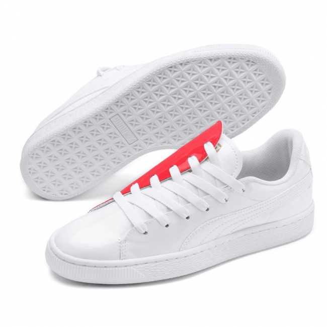 PUMA Basket Crush Wns women shoes, Color: white, Material: Synthetic fibers