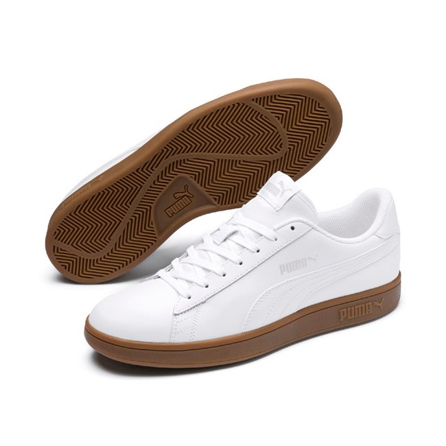 PUMA Smash v2 L shoes, Color: white, Material: leather