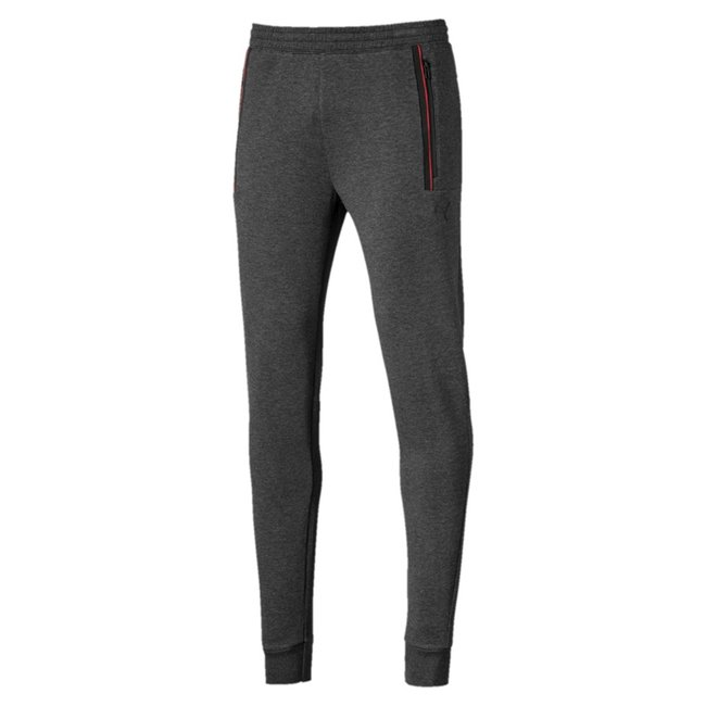 Ferrari Sweat cc men trousers, Colour: gray, Material: cotton, polyester, Reflective Ferrari Shield TPU badge Puma Cat Logo print Ergonomic fit with articulated knees for more freedom of movement Elastic waistband with internal drawcords for customized comfort Zip pockets for secure storage solutions Woven sign off tape along side pockets Closed rib cuffs