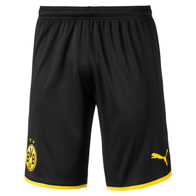 Borussia BVB Replica men shorts, Colour: Black, Material: polyester, Show your colors and support your favorite team with the Official Borussia Dortmund Matchwear RangeEmbroidered PUMA Cat branding on left leg Official Borussia Dortmund woven badge on right leg Double knit bio-based wicking finish Regular FitdryCELL