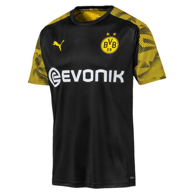 Borussia BVB Training Jersey with Evo Men T-Shirt, Colour: Black, Material: polyester, The future of training. The Official Borussia Dortmund Training Collection combines functionality with style for a versatile collection as worn by your favorite players. Stay protected and fully agile whilst remaining a step-ahead in on-pitch style.Official Borussia Dortmund woven badge on left chest PUMA Cat pigment print branding on right chest dynamic sublimation graphic on sleeves and half of back side dryCELL material keeps you dry and comfortable for peak performanceSlim FitdryCELL