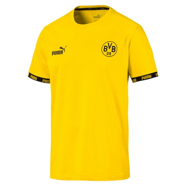 Borussia BVB FtblCulture Men T-Shirt, Colour: yellow, Material: cotton, Show your colors and support your team with the Official Borussia Dortmund x PUMA Leisurewear CollectionThis stylish t-shirt features the PUMA One Logo and official club crest on the chest tapes on the sleeve cuffs with contrasted PUMA wordings graphics on the back inspired by this season s kitsRegular Fit