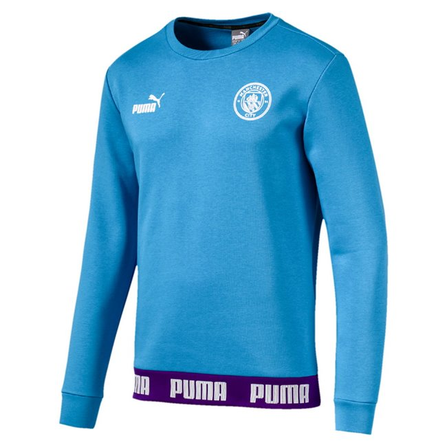 Manchester City MCFC FtblCultureer men sweatshirt, Colour: Blue, Material: cotton, polyester, Show your colors and support your team with the Official MCFC x PUMA Leisurewear CollectionThis stylish t-shirt features the PUMA One Logo and official club crest on the chest tapes on the hem with contrasted PUMA wordings graphics on the back inspired by this season s kitsRegular Fit