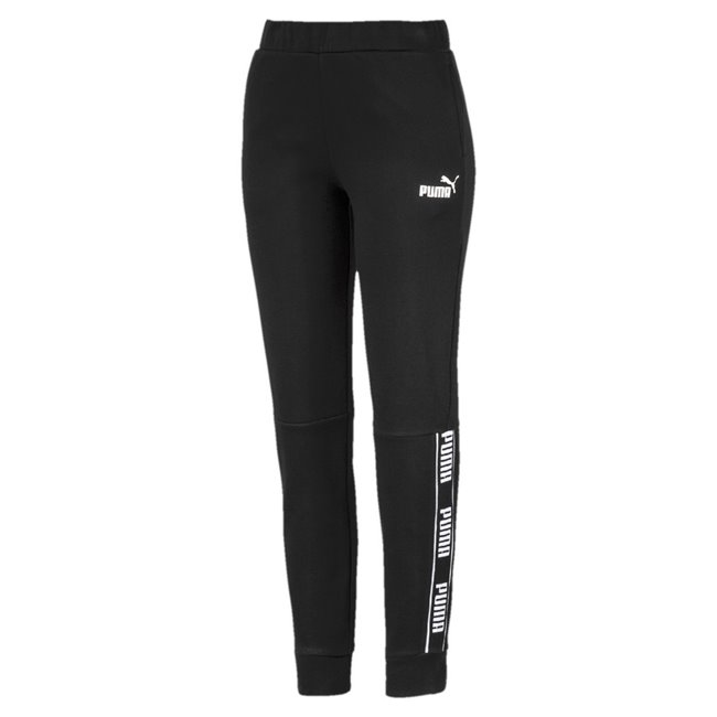 PUMA Amplified FL Women pants, Colour: Black, Material: cotton, No. 1 logo rubber raised print Rib insert with repeating PUMA wordmark on side leg Side seam pockets for a convenient storage solution Waistband with internal drawcords for a perfect adjustment Regular fit