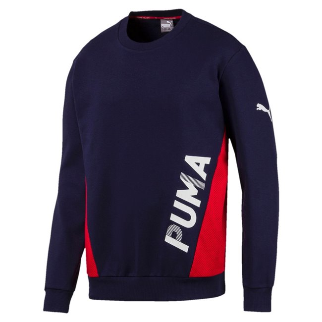PUMA Modern Sports Crew FL men sweatshirt, Colour: dark blue, Material: cotton, polyester, dryCELL: Fabrics wick moisture away from the skin to help keep you dry and comfortable Graphic rubber print Cat Logo rubber print on sleeve Mesh overlay on sides Rib crew neck Rib cuffs & hem Regular fit