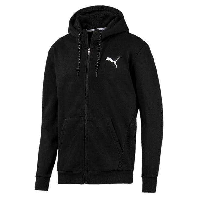 PUMA Modern Sports FZ FL men sweatshirt, Colour: Black, Material: cotton, polyester, dryCELL: Fabrics wick moisture away from the skin to help keep you dry and comfortable Graphic rubber print on the back Cat Logo rubber print Mesh lined hood with external drawcords for an adjustable fit Full zip closure Dropped shoulder for improved flexibility and freedom of movement Kangaroo pocket for storage solutions Rib cuffs & hem Regular fit
