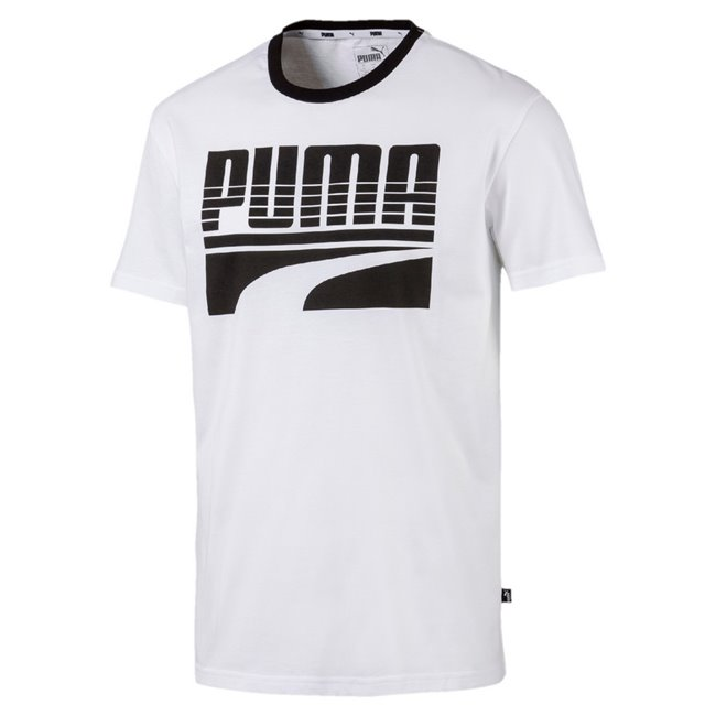 PUMA REBEL Bold Men T-Shirt, Colour: white, Material: cotton, Graphic rubber print Rib crew neck Dropped shoulder for improved flexibility and freedom of movement Modern regular fit