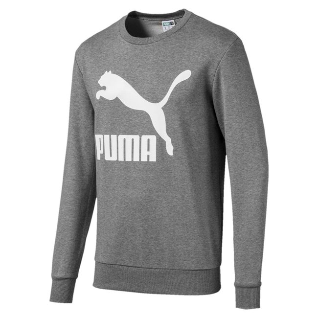 PUMA Classics Logo Crew TR men sweatshirt, Colour: gray, Material: cotton, Archive No. 1 Graphic rubber print Exceptions: Graphic 2 color rubber print (cw. 33, 47, 02, 17) Graphic gold foil print (cw. 51) Made with cotton from Better Cotton Initiative Rib crew neck Rib cuffs and hem Regular fit