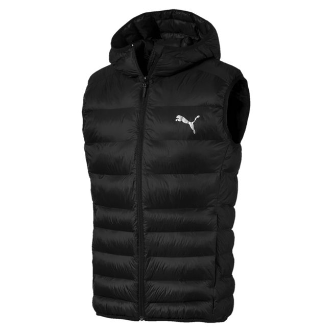 PUMA WarmCell Ultralight men winter vest, Colour: Black, Material: polyester, -functional materials provide you a durable yet breathable protection against wind-chill, while helping you to maintain your body temperature at a comfortable level during exercise.-Full zipper with zip garage at the chin for comfort.-100 mesh lined to increase the comfort.-Two on seam hand pockets with zipper for safety storage solution.