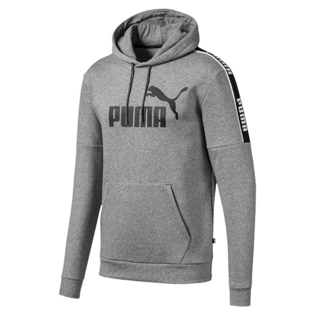 PUMA Amplified FL men hooded sweatshirt, Colour: gray, Material: cotton, No.1 Logo rubber print Rib insert on shoulders with repeated PUMA wordmark Jersey lined two panel hood with external drawcords for an adjustable fit Kangaroo Pocket for storage solutions Regular fit