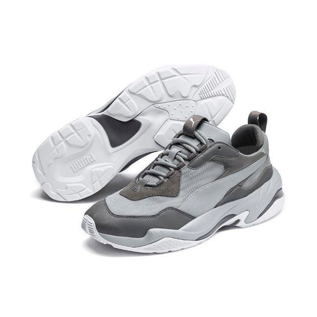 PUMA THUNDER FASHION 2.0 men shoes, Colour: gray, Material: leather, The Thunder pays homage to past collabs and silhouettes ahead of their time. Inspired by 90s Cell System running silhouettes and the PUMA x McQueen collaboration, the style is a reimagined pair of kicks with a bulky, unapologetic look and feel. The exaggerated tooling, the blown-up proportions and the loud color blocking reserve a spot for the Thunder on the international runways. This pack incorporates colour contrasting between the material overlays and midsole to deliver a fashion-focused exe