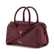 Ferrari SF LS handbag, Colour: burgundy, Material: polyurethane, Zip opening into main compartment, zip pocket inside main compartment, 150D Polyester with PU backing, adjustable and detachable PU shoulder strap, two PU carry handles, padded bottom, rounded Cat Logo branded metal zip puller on main compartment, Cat Logo branded metal zip puller on inside zip pocket, Scuderia Ferrari Racing Shield on a metal badge on the upper front, embossed metal Cat Logo on lower front.