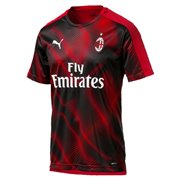 AC Milan Stadium Jersey Men T-Shirt, Colour: red, Material: polyester, Show your colors and support your favorite team with the Official AC Milan Prematch Range.This jersey is identical to the official version as worn by the players before kickoff.Official AC Milan pigment print crest on left chest, PUMA Cat pigment print Branding on right chest, Formstrip on sleeves, Fly Emirates pigment print on chest, color flux graphic on the front and sleeves, 100 warp knitted polyester with bio-based wicking finishRegular FitdryCELL