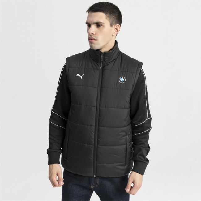 PUMA BMW MMS Padded winter vest, Color: Black, Material: Nylon