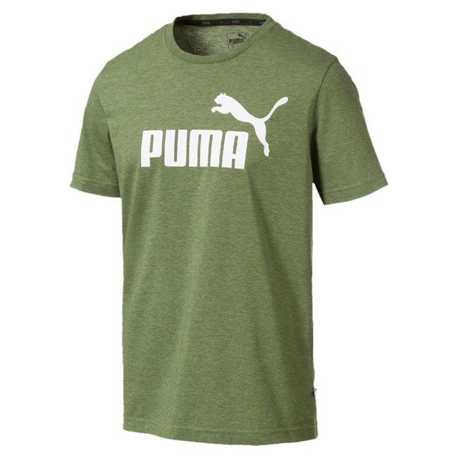 PUMA Essentials+ Heather Men T-Shirt, Colour: Gray, Material: polyester, PUMA No.1 Logo pigment print Regular fit Rib crew neck
