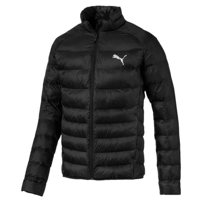 PUMA WarmCell Ultralight mens winter jacket, Colour: Gray, Material: polyester, Puma Cat Logo pigment print Secondary branding graphic on back pigment print Inner Inside storm flap with grown on chin guard Side zip pockets for secure storage solutions Elastic bound hem Dropped back hem Inner pocket with flap Hanger loop Regular fit