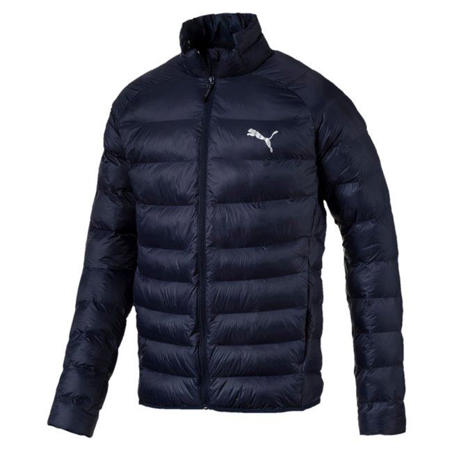 PUMA WarmCell Ultralight mens winter jacket, Colour: Blue, Material: polyester, Puma Cat Logo pigment print Secondary branding graphic on back pigment print Inner Inside storm flap with grown on chin guard Side zip pockets for secure storage solutions Elastic cuffs Elastic bound hem Dropped back hem Inner pocket with flap Hanger loop Regular fit