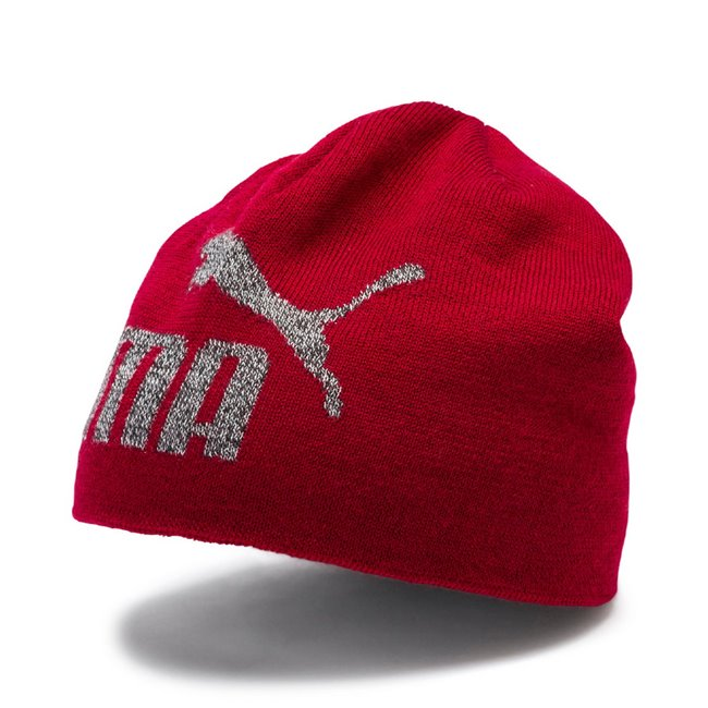 PUMA Ess Logo cap, Colour: Burgundy, Material: Acrylic, Knit beanie with 6 darts construction at topDouble layer knitJacquard Cat PUMA No. 1 Logo in heather knit and contrast color