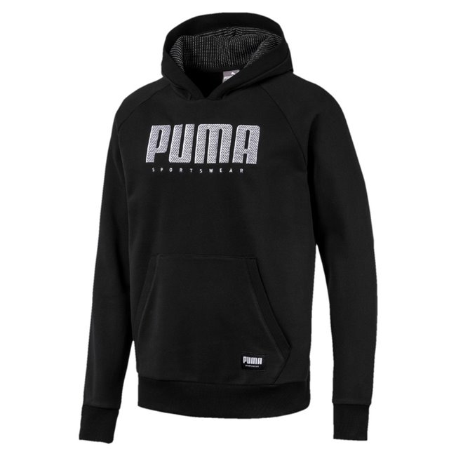 PUMA Athletics FL men hooded sweatshirt, Colour: Black, Material: cotton, Graphic embroidery (cw 01, 03, 06, 11) Graphic self fabric applique (cw 07, 32, 38, 51) Woven label Two panel hood with rib details Raglan sleeves for freedom of movement Kangaroo pocket for storage solutions Rib cuffs and hem Regular fit