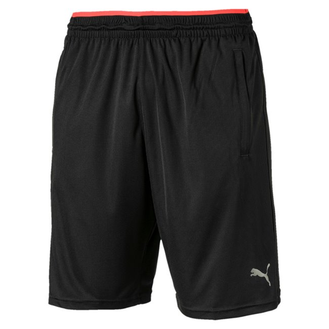 PUMA Collective Knit men shorts, Colour: Black, Material: polyester, -dryCELL: fabric wicks away moisture so it can quickly evaporate, keeping you dry and comfortable. -Open hand pockets for storage solutions.-Covered elastic waistband with internal drawcord for adjustability.-PUMA right leg print with seasonal graphic inspiration to give better style to the garment.-Regular fit - 11 inseam.
