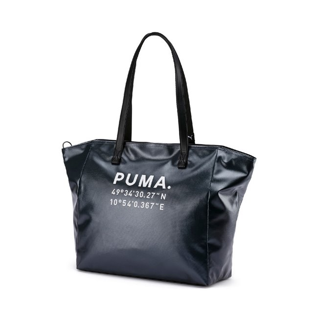 PUMA Prime Time Large women bag, Colour: Black, Material: polyester, In a borderless culture traditional walls and conventions give way to creating and discovering. Made for all the urban explorers this style comes in a gleaming body material and features the latitude longitude code for PUMA s hometown Herzogenaurach.Zip opening into main compartment, zip pocket inside, 150D Polyester lining with PU backing, long webbing shoulder straps with PU overlay, padded base panel, round PUMA heritage metal zip puller with embossed PUMA Wordmark, metal zip puller with emb