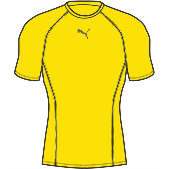 PUMA LIGA Baselayer SS T-shirt, Color: yellow, Material: polyester, spandex