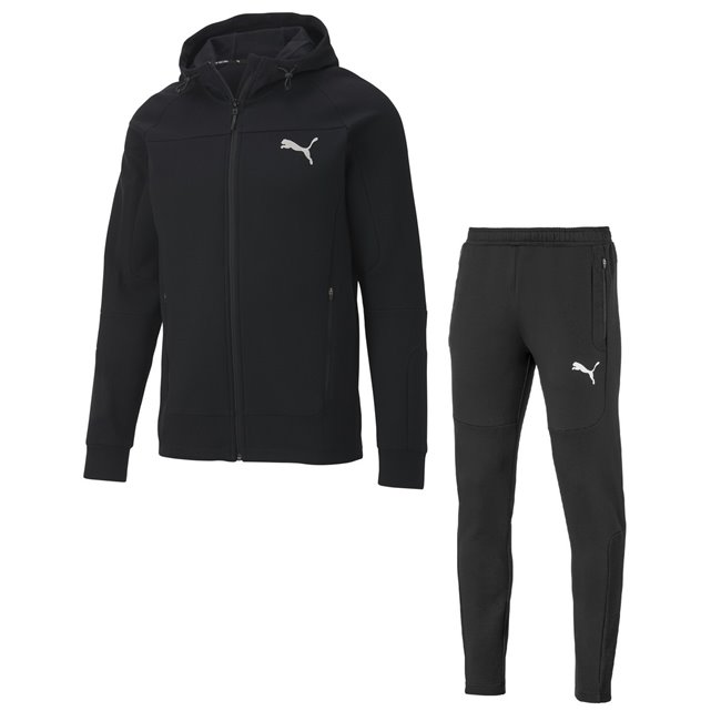 PUMA EVOSTRIPE Tracksuit - sweatshirt and pants, Sweatshirt - Color: black, Material: cotton, polyester, full zip, hood, side zipper pockets, PUMA Cat logo on left, Pants - Color: black, Material: cotton, polyester, PUMA Cat logo on left leg, side pockets on zipper