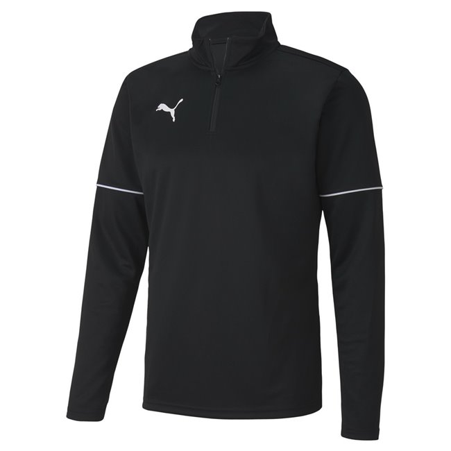PUMA teamGOAL 1 4 Zip Top Core sweatshirt, Color: black, Material: 100% polyester