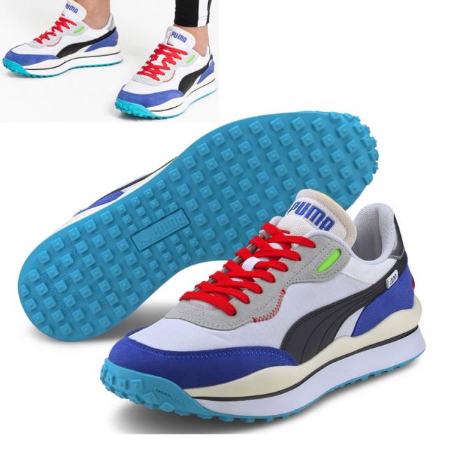 PUMA STYLE RIDER RIDE ON shoes, Color: white, Material: Upper: fabric, Midsole: IMEVA, Sole: rubber