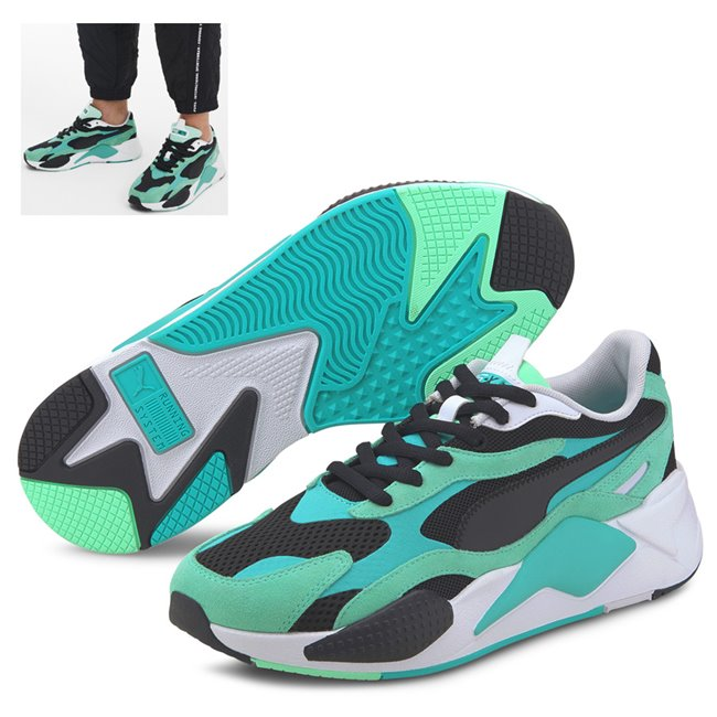 PUMA RS-X SUPER shoes, Color: Green Material: Upper: mesh, Midsole: PU, Sole: rubber